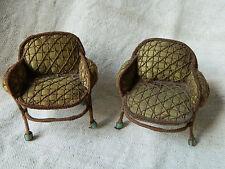 paire de fauteuils maison  de  poupée anciens art déco tissu