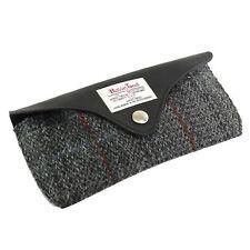 Harris Tweed Gafas Funda Con Ribete En Piel (gris) Nuevo 25155
