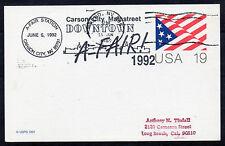 """1992 estación especial' ' cancelar. tarjeta 19c. 'a-Feria, Carson City, NY""""."""
