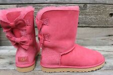 UGG Australia Womens Bailey Bow Meilani Sunset Red Sheepskin Boots US 7 NEW!