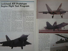 10/1990 ARTICLE 2 PAGES LOCKHEED BOEING GENERAL DYNAMICS YF-22A FIRST FLIGHT