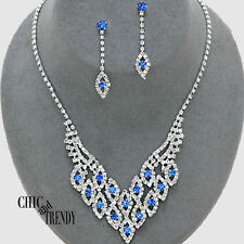 TRENDY BLUE & CLEAR RHINESTONE CRYSTAL WEDDING FORMAL JEWELRY SET CHIC TRENDY