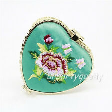 Double-Sided Makeup Purse Mirror Embroidered Heart Shaped Pocket Mirror (Random)