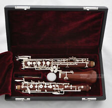 Professional Grenadilla Rose Wooden Oboe Silver Plating C Key Leather Case