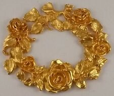 ROSE WREATH GOLD METAL ORMOLU FURNITURE HARDWARE NEOCLASSICAL DECOR