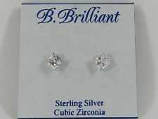 B.Brilliant Sterling Silver Cubic Zirconia Square Stud Earring (1 ct. t.w.)