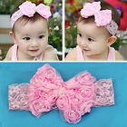 Pink Baby Newborn Rose Bow Lace Peal Headband Cute Toddler Hairband Headdress