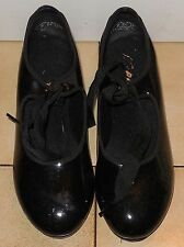 Capezio Girls tap Dance shoes Tele Tone Jr In Shinny Black Size 8 M N625