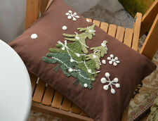"18"" Brown Cotton Embroidered Throw Pillow Cushion Cover Christmas Tree New"