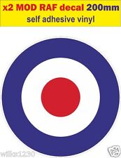 200mm Raf roundel 2 la OMS Mod objetivo Scooter Calcomanías Stickers Vespa Van Vw