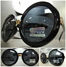 OVERSIZE VINTAGE RETRO Style SUN GLASSES Huge Round Black & Gold Frame Dark Lens