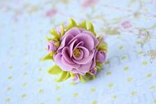 Flower ring HANDCRAFTED rose Fashion polymer clay jewelry Cute ring HANDMADE