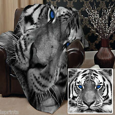 SNOW TIGER BLUE EYES DESIGN SOFT FLEECE BLANKET COVER THROW OVER BLANKET BED