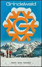 GRINDELWALD SWITZERLAND 1968 Vintage TOURISM TRAVEL poster 25x40 SKI Not a repro