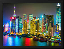 COLOURFUL SHANGHAI NEW A3 FRAMED PHOTOGRAPHIC PRINT POSTER