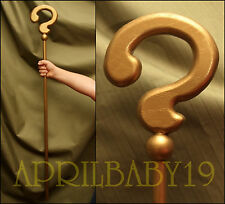 RIDDLER CANE Question Mark GOLD color SOLID WOOD Costume Prop Cosplay Comic Con