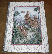 Hare Raising Rabbits Crafters Unfinished Tapestry Wall Hanging Fabric Remnant