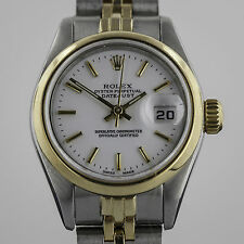 Rolex Datejust, Ladies, 18K Gold and Stainless Steel, White Dial, 79173