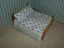 Brand New-Double Bedding Set - White with Tiny Strawberries for 1/12 Dolls House