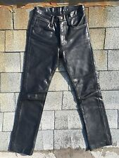 Vintage THE ORIGINAL LEATHER LINE HEAVY Black PANTS 28 X 32 Motorcycle Jeans USA