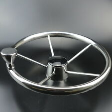 13-1/2'' Boat Steering Wheel Stainless 5 Spoke With Knob Heavy Duty Marine