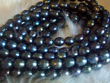 DIY Puffy Rice Pearl Beads Disco Green Blue Grey 11mm x 10mm Loose