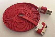 Heavy Duty forte APPLE IPHONE 4 4S IPOD IPAD 2 3 USB LEAD Cavo Piatto 3m Rosso