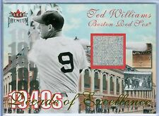 TED WILLIAMS 2001 01 FLEER PREMIUM EXCELLENCE GAME USED JERSEY SP/50
