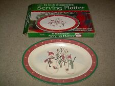 "Royal Seasons Stoneware SNOWMAN Oval 14"" Serving Platter NIB NEW FREE SHIP"
