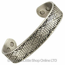 Mens Chunky Celtic Magnetic Copper Bracelet Pewter CUFF BANGLE 6 Magnets  NEW