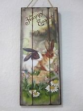 """Primitive Vintage Style Easter Wood Sign Decorations Rabbits """"Happy Easter"""" NEW"""