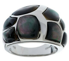 Honora Mother-of-Pearl Channel Inlay Sterling Band Ring Size 5 -QVC