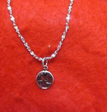 "14KT WHITE GOLD EP 18 INCH 2MM TWISTED NUGGET NECKLACE W/ A MINI ""LUCKY"" PENNY"