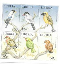 Liberia - Birds, 2000 - Sheetlet of 6 MNH