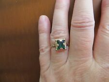 Victorian/ Art Deco 10k Yellow Gold Ring with Green Past Stone Size 7.25