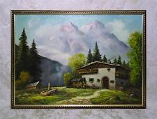 Vintage Oil Painting of Mountain Landscape Alps Chateau Signed Listed Artist