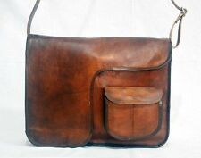 Real leather messenger shoulder laptop handmade brown vintage retro satchel bag
