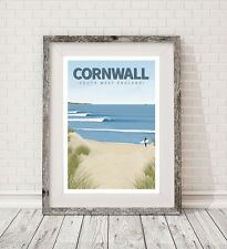 A3 Surfing Cornwall retro art travel poster print vintage