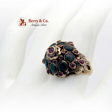 Vintage Princess Ring 14K Yellow Gold Rubies Black Star Sapphires 1920