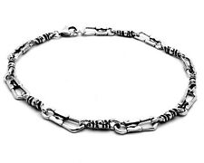 Solid 925 Sterling Silver Fisherman Cross Link Bracelet Oxidize Antique Finish
