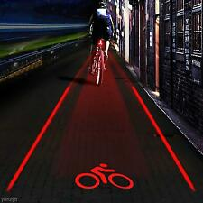 Outdoor 5 LED 2 Laser Bike Bicycle Rear Tail Lamp Bicycle LOGO Projection Lights