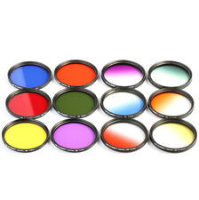12pcs 58mm Full Graduated Color Lens Filter Kit For Canon 700D 1100D 18-55 USA