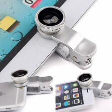 3in1 Fish Eye + Wide Angle Micro Lens Camera Kit for Phone Silver Color New