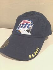 Miller Lite Beer US Navy Ship Blue Bottle Opener  Hat Cap RARE adjustable  ~NEW~