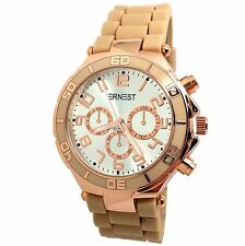 MONTRE FEMME BEIGE TAUPE CUIVRE OR ROSE CHRONO ERNEST SILICONE MODE IDEE CADEAU