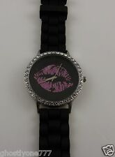 Black and bling Pink Lips watch rubber tire tread type band New trendy Lip