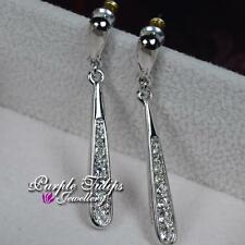 18CT White Gold Plated Long Style Dangle Stud Earrings W/ Swarovski Crystals