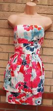 NEW LOOK WHITE PINK FLORAL BLUE BANDEAU PEPLUM TUBE BODYCON RUFFLE DRESS 10 S
