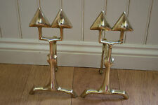 ANTIQUE PAIR OF BRASS ARTS & CRAFTS FIRE DOGS IMPRESSIVE & STUNNING