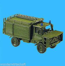 Roco Minitanks H0 433 UNIMOG U 1300 L TLF 1000 mit Rettungsbühne BW OVP HO 1:87